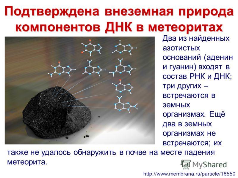 Подтверждена внеземная природа компонентов ДНК в метеоритах Два из найденных азотистых оснований (аденин и гуанин) входят в состав РНК и ДНК; три других – встречаются в земных организмах. Ещё два в земных организмах не встречаются; их также не удалос