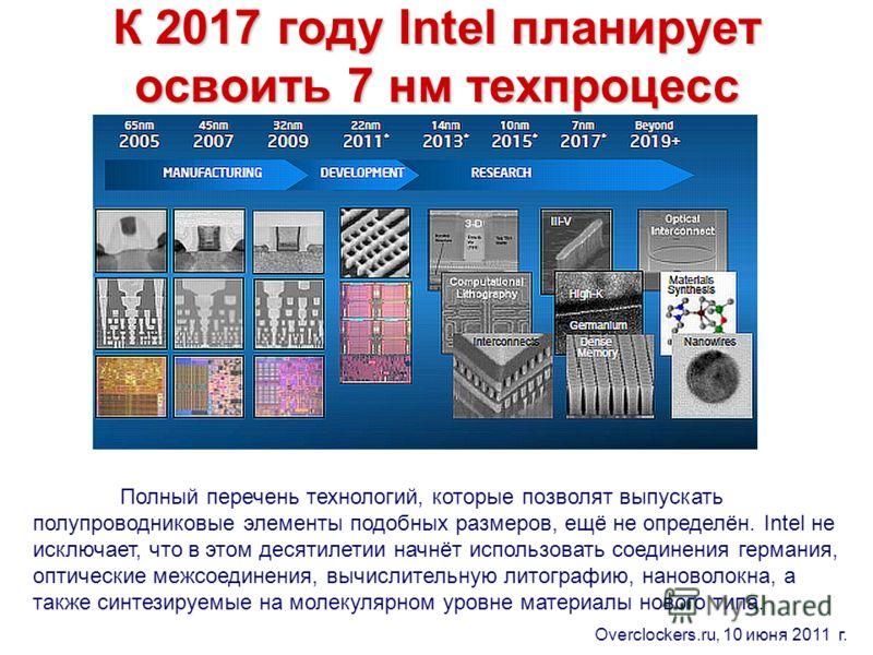 К 2017 году Intel планирует освоить 7 нм техпроцесс Полный перечень технологий, которые позволят выпускать полупроводниковые элементы подобных размеров, ещё не определён. Intel не исключает, что в этом десятилетии начнёт использовать соединения герма