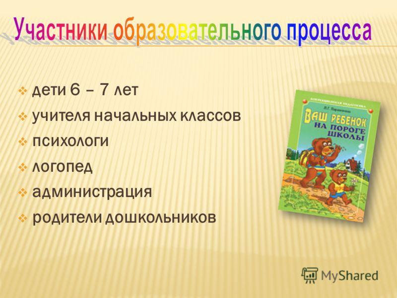 дети 6 – 7 лет учителя начальных классов психологи логопед администрация родители дошкольников
