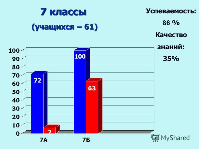 7 классы (учащихся – 61) (учащихся – 61) Успеваемость: 86 % Качество знаний: 35%