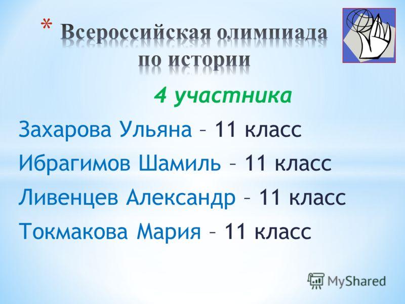 4 участника Захарова Ульяна – 11 класс Ибрагимов Шамиль – 11 класс Ливенцев Александр – 11 класс Токмакова Мария – 11 класс