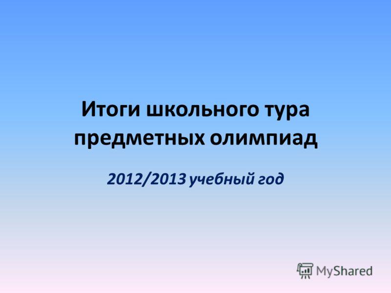 Итоги школьного тура предметных олимпиад 2012/2013 учебный год