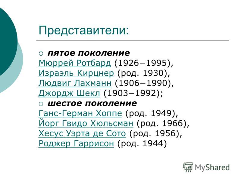 Представители: пятое поколение Мюррей РотбардМюррей Ротбард (19261995), Израэль КирцнерИзраэль Кирцнер (род. 1930), Людвиг ЛахманнЛюдвиг Лахманн (19061990), Джордж ШеклДжордж Шекл (19031992); шестое поколение Ганс-Герман ХоппеГанс-Герман Хоппе (род.