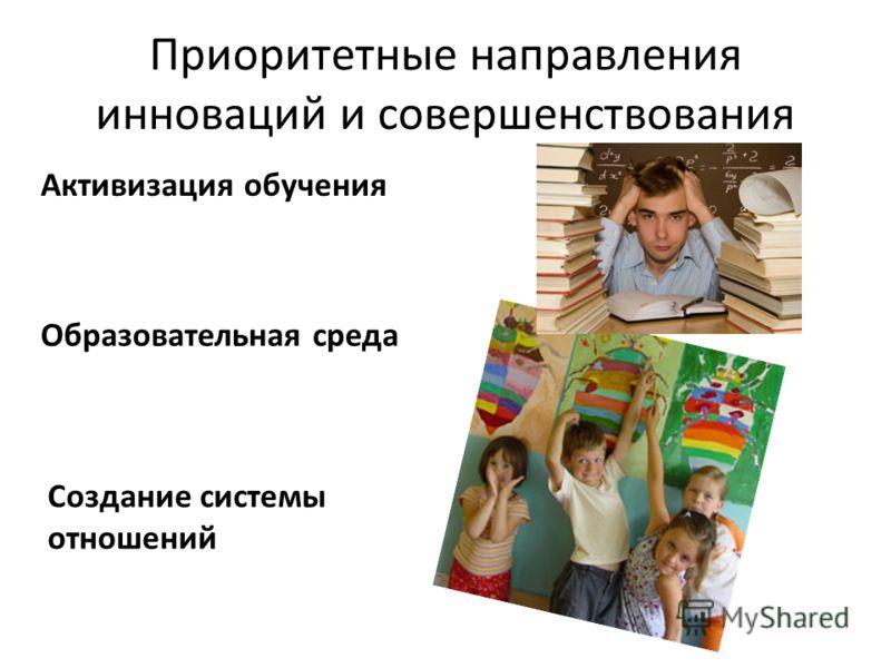 Приоритетные направления инноваций и совершенствования Активизация обучения Образовательная среда Создание системы отношений