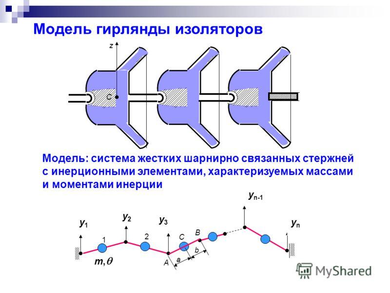 Модель гирлянды изоляторов z y n-1 B C b a y3y3 A m, y2y2 2 1 ynyn y1y1 Модель: система жестких шарнирно связанных стержней с инерционными элементами, характеризуемых массами и моментами инерции