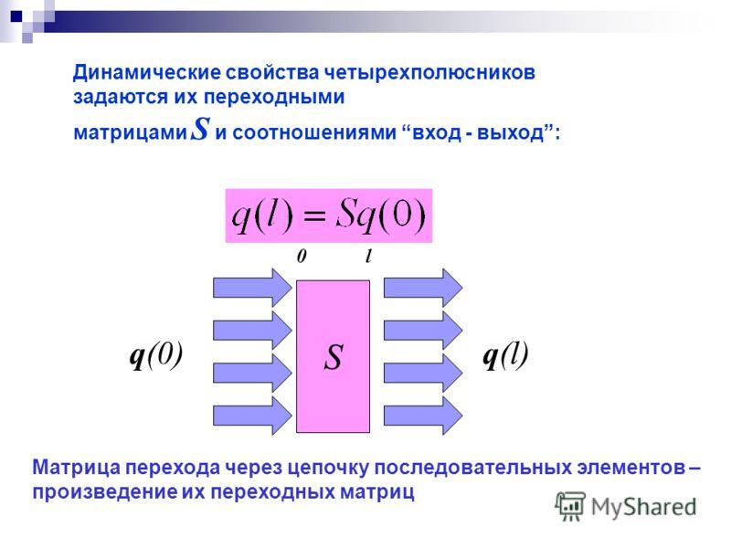 Динамические свойства четырехполюсников задаются их переходными матрицами S и соотношениями вход - выход: Матрица перехода через цепочку последовательных элементов – произведение их переходных матриц S q(0)q(l) 0l