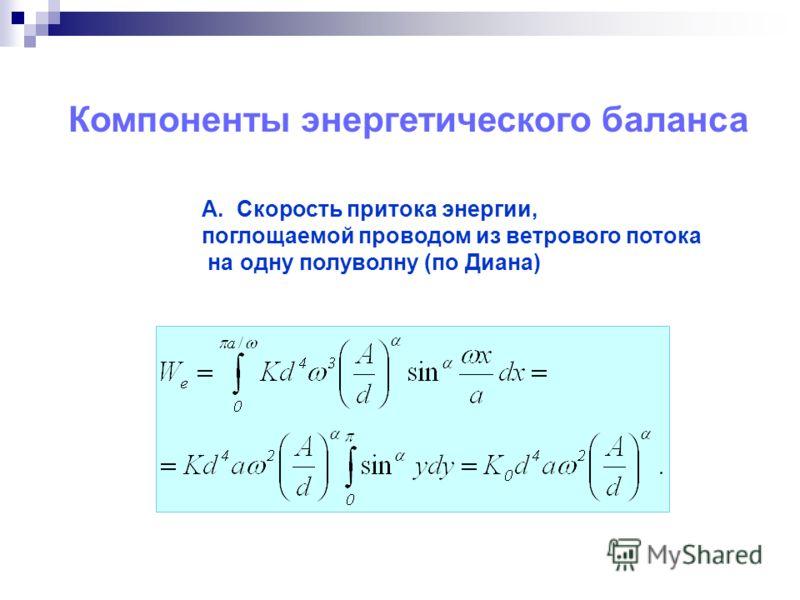 Компоненты энергетического баланса А. Скорость притока энергии, поглощаемой проводом из ветрового потока на одну полуволну (по Диана)