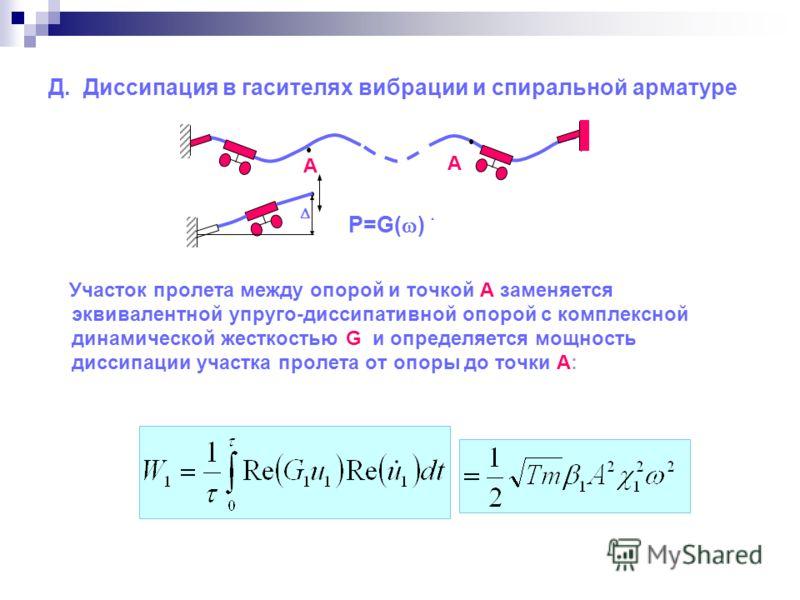 Д. Диссипация в гасителях вибрации и спиральной арматуре Участок пролета между опорой и точкой А заменяется эквивалентной упруго-диссипативной опорой с комплексной динамической жесткостью G и определяется мощность диссипации участка пролета от опоры