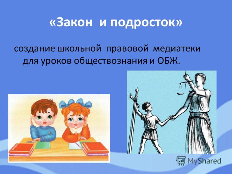 «Закон и подросток» создание школьной правовой медиатеки для уроков обществознания и ОБЖ.