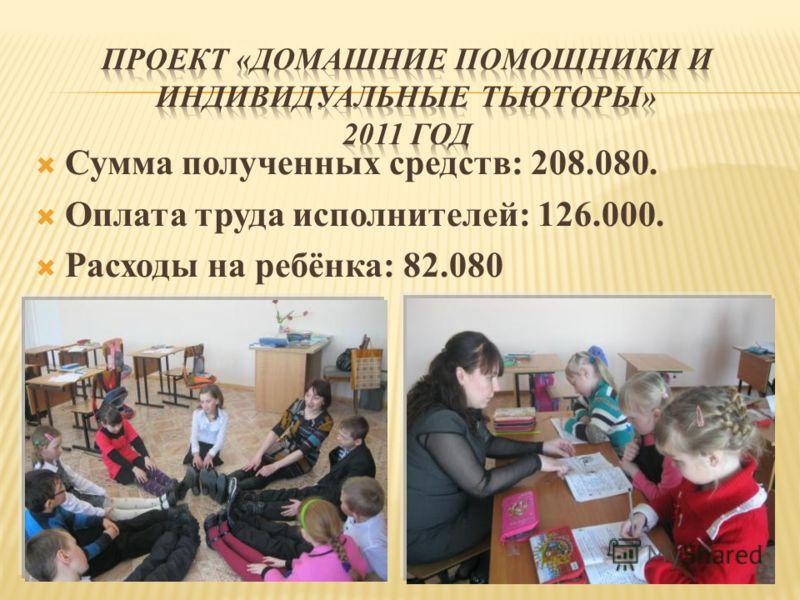Сумма полученных средств: 208.080. Оплата труда исполнителей: 126.000. Расходы на ребёнка: 82.080