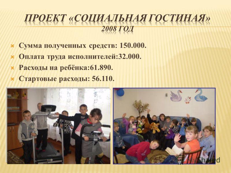 Сумма полученных средств: 150.000. Оплата труда исполнителей:32.000. Расходы на ребёнка:61.890. Стартовые расходы: 56.110.