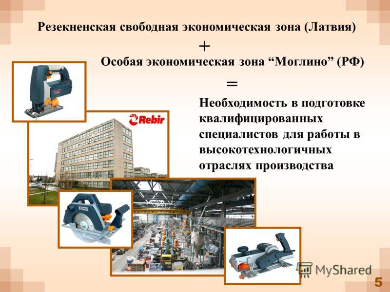 5 Резекненская свободная экономическая зона (Латвия) Особая экономическая зона Моглино (РФ) + = Необходимость в подготовке квалифицированных специалистов для работы в высокотехнологичных отраслях производства