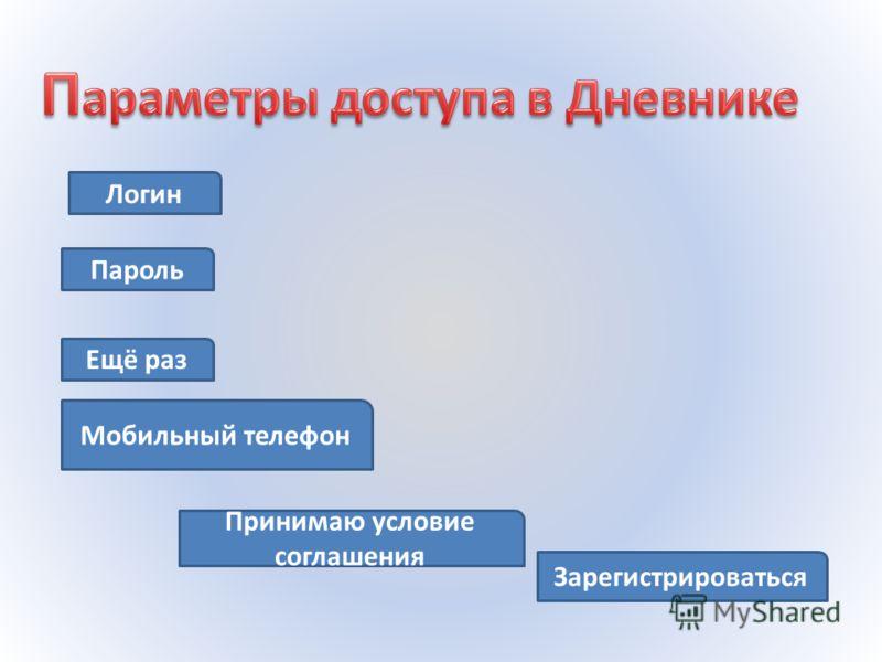 Логин Пароль Ещё раз Мобильный телефон Зарегистрироваться Принимаю условие соглашения