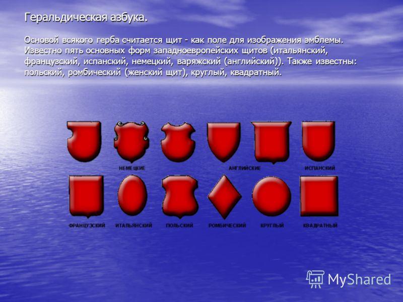Геральдическая азбука. Основой всякого герба считается щит - как поле для изображения эмблемы. Известно пять основных форм западноевропейских щитов (итальянский, французский, испанский, немецкий, варяжский (английский)). Также известны: польский, ром