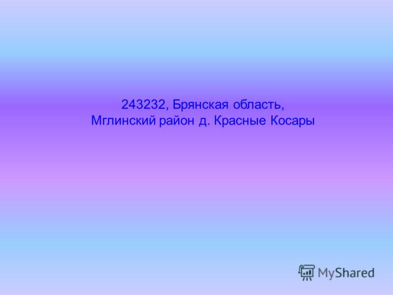 243232, Брянская область, Мглинский район д. Красные Косары