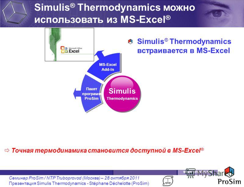 www.prosim.net Семинар ProSim / NTP Truboprovod (Москва) – 28 октября 2011 Презентация Simulis Thermodynamics - Stéphane Déchelotte (ProSim) Simulis ® Thermodynamics можно использовать из MS-Excel ® Simulis Thermodynamics Пакет программ ProSim MS-Exc