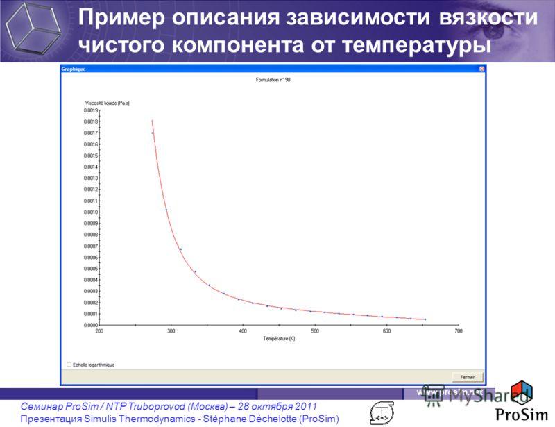 www.prosim.net Семинар ProSim / NTP Truboprovod (Москва) – 28 октября 2011 Презентация Simulis Thermodynamics - Stéphane Déchelotte (ProSim) Пример описания зависимости вязкости чистого компонента от температуры
