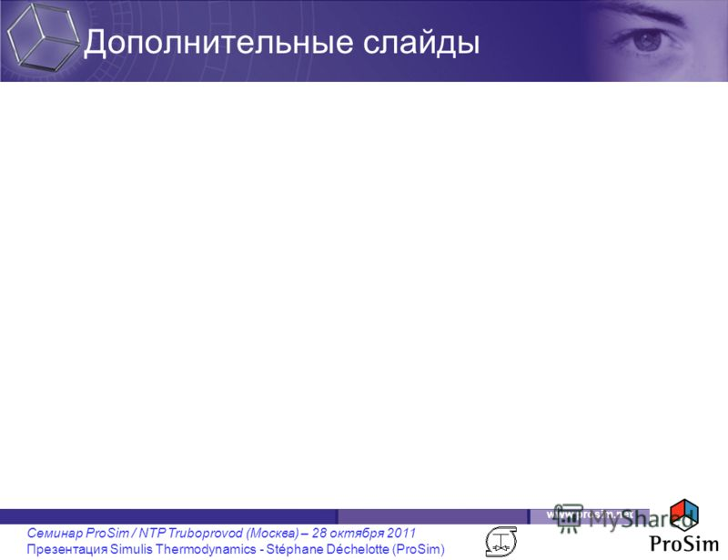 www.prosim.net Семинар ProSim / NTP Truboprovod (Москва) – 28 октября 2011 Презентация Simulis Thermodynamics - Stéphane Déchelotte (ProSim) Дополнительные слайды