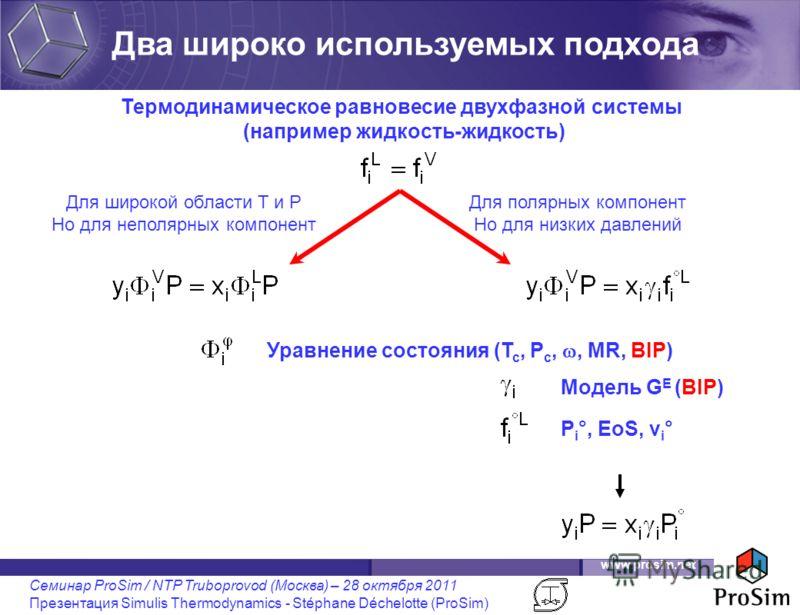 www.prosim.net Семинар ProSim / NTP Truboprovod (Москва) – 28 октября 2011 Презентация Simulis Thermodynamics - Stéphane Déchelotte (ProSim) Термодинамическое равновесие двухфазной системы (например жидкость-жидкость) Уравнение состояния (T c, P c,,