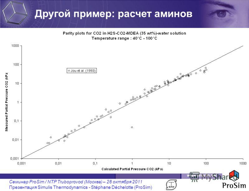 www.prosim.net Семинар ProSim / NTP Truboprovod (Москва) – 28 октября 2011 Презентация Simulis Thermodynamics - Stéphane Déchelotte (ProSim) Другой пример: расчет аминов