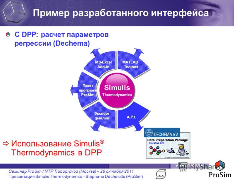 www.prosim.net Семинар ProSim / NTP Truboprovod (Москва) – 28 октября 2011 Презентация Simulis Thermodynamics - Stéphane Déchelotte (ProSim) Simulis Thermodynamics Пакет программ ProSim MS-Excel Add-In MATLAB Toolbox A.P.I. Экспорт файлов Пример разр