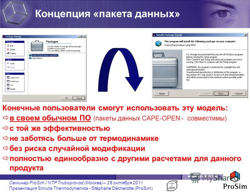 www.prosim.net Семинар ProSim / NTP Truboprovod (Москва) – 28 октября 2011 Презентация Simulis Thermodynamics - Stéphane Déchelotte (ProSim) Конечные пользователи смогут использовать эту модель: в своем обычном ПО (пакеты данных CAPE-OPEN - совместим