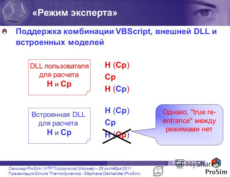 www.prosim.net Семинар ProSim / NTP Truboprovod (Москва) – 28 октября 2011 Презентация Simulis Thermodynamics - Stéphane Déchelotte (ProSim) Поддержка комбинации VBScript, внешней DLL и встроенных моделей Встроенная DLL для расчета H и Cp DLL пользов