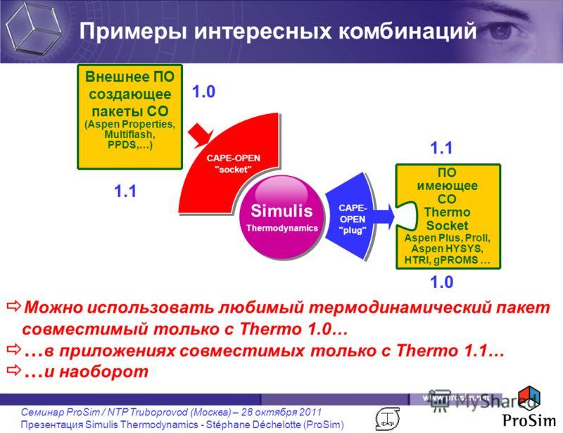 www.prosim.net Семинар ProSim / NTP Truboprovod (Москва) – 28 октября 2011 Презентация Simulis Thermodynamics - Stéphane Déchelotte (ProSim) Simulis Thermodynamics Можно использовать любимый термодинамический пакет совместимый только с Thermo 1.0… CA