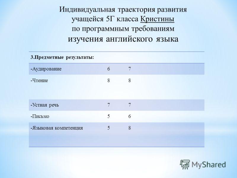 3.Предметные результаты: -Аудирование67 -Чтение88 -Устная речь77 -Письмо56 -Языковая компетенция58