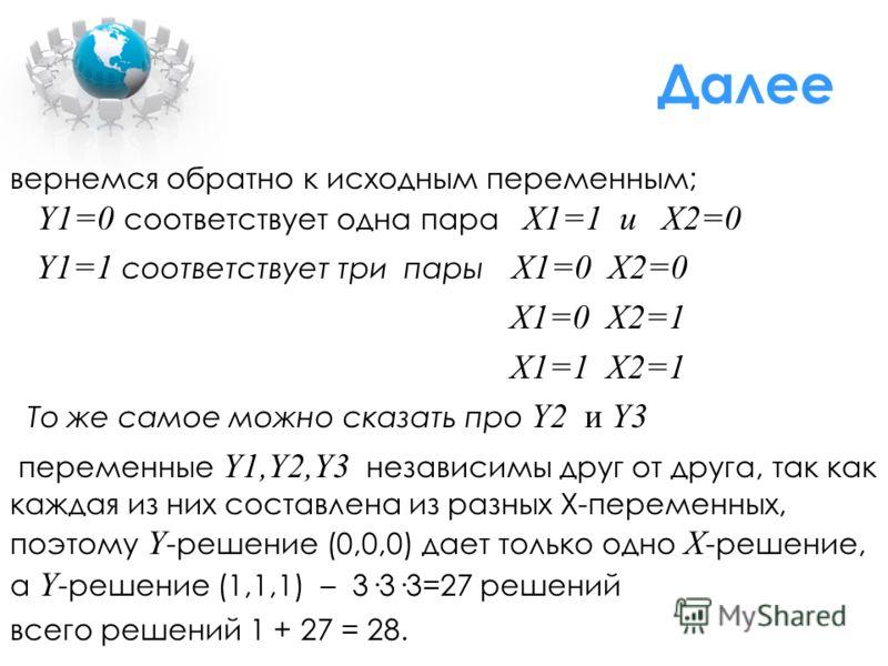 Далее вернемся обратно к исходным переменным; Y1=0 соответствует одна пара X1=1 и X2=0 Y1=1 соответствует три пары X1=0 X2=0 X1=0 X2=1 X1=1 X2=1 То же самое можно сказать про Y2 и Y3 переменные Y1,Y2,Y3 независимы друг от друга, так как каждая из них