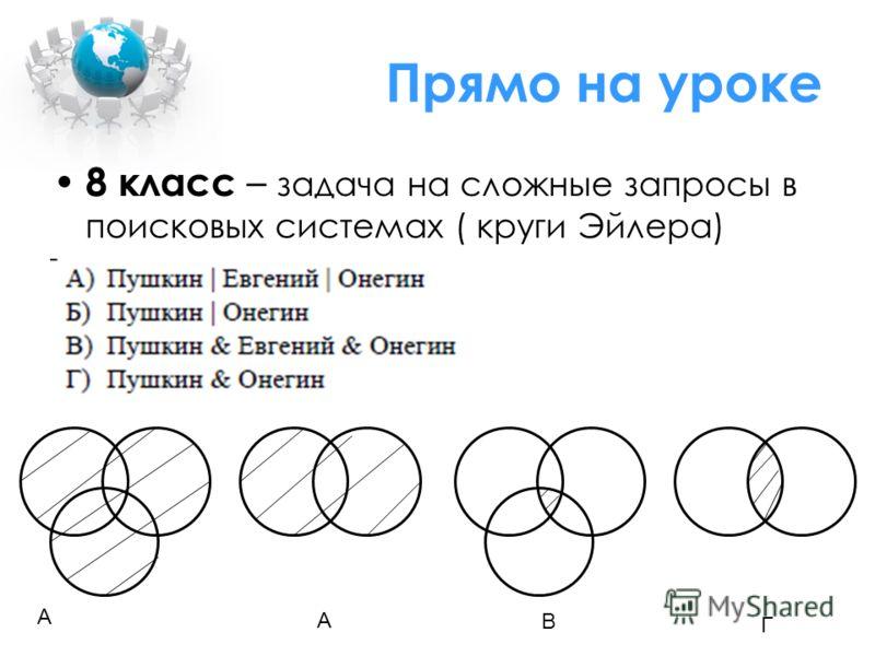 Прямо на уроке 8 класс – задача на сложные запросы в поисковых системах ( круги Эйлера) А А В Г