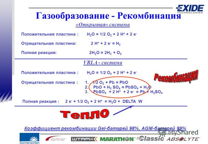 «Открытая» система Положительная пластина : H 2 O = 1/2 O 2 + 2 H + + 2 e - Отрицательная пластина: 2 H + + 2 e - = H 2 Полная реакция: 2H 2 O = 2H 2 + O 2 VRLA - система Положительная пластина : H 2 O = 1/2 O 2 + 2 H + + 2 e - Отрицательная пластина