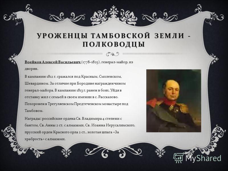 Воейков Алексей Васильевич (1778–1825), генерал - майор, из дворян. В кампанию 1812 г. сражался под Красным, Смоленском, Шевардином. За отличие при Бородине награжден чином генерал - майора. В кампанию 1813 г. ранен в боях. Уйдя в отставку жил с семь
