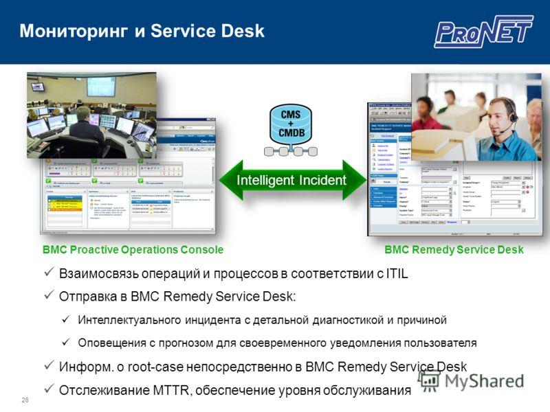 Мониторинг и Service Desk 26 Intelligent Incident BMC Remedy Service DeskBMC Proactive Operations Console Взаимосвязь операций и процессов в соответствии с ITIL Отправка в BMC Remedy Service Desk: Информ. о root-case непосредственно в BMC Remedy Serv