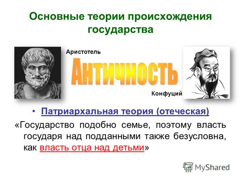 Основные теории происхождения государства Патриархальная теория (отеческая) «Государство подобно семье, поэтому власть государя над подданными также безусловна, как власть отца над детьми» Аристотель Конфуций