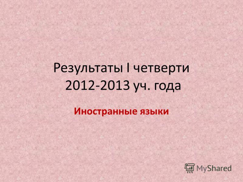 Результаты I четверти 2012-2013 уч. года Иностранные языки