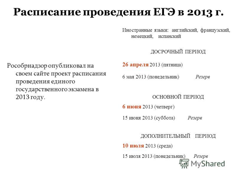 Расписание проведения ЕГЭ в 2013 г. Рособрнадзор опубликовал на своем сайте проект расписания проведения единого государственного экзамена в 2013 году. Иностранные языки: английский, французский, немецкий, испанский ДОСРОЧНЫЙ ПЕРИОД 26 апреля 2013 (п
