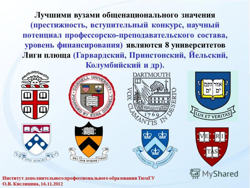 Лучшими вузами общенационального значения (престижность, вступительный конкурс, научный потенциал профессорско-преподавательского состава, уровень финансирования) являются 8 университетов Лиги плюща (Гарвардский, Принстонский, Йельский, Колумбийский