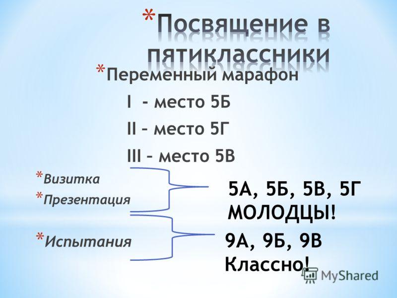 * Переменный марафон I - место 5Б II – место 5Г III – место 5В * Визитка * Презентация * Испытания 5А, 5Б, 5В, 5Г МОЛОДЦЫ! 9А, 9Б, 9В Классно!