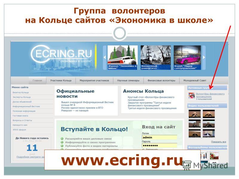 Группа волонтеров на Кольце сайтов «Экономика в школе» www.ecring.ru