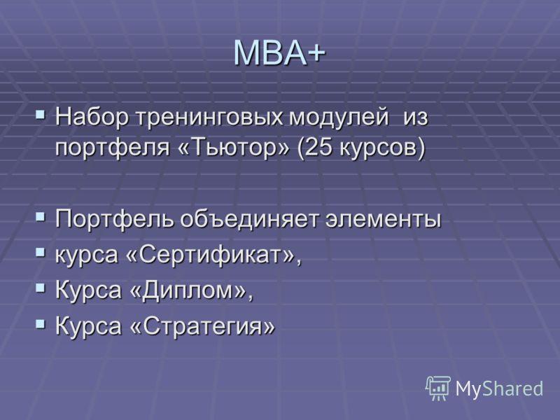 МВА+ Набор тренинговых модулей из портфеля «Тьютор» (25 курсов) Набор тренинговых модулей из портфеля «Тьютор» (25 курсов) Портфель объединяет элементы Портфель объединяет элементы курса «Сертификат», курса «Сертификат», Курса «Диплом», Курса «Диплом