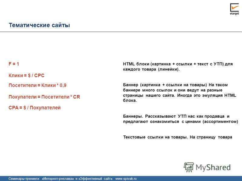 Тематические сайты CPA = $ / Покупателей HTML блоки (картинка + ссылки + текст с УТП) для каждого товара (линейки). Баннер (картинка + ссылки на товары) На таком баннере много ссылок и они ведут на разные страницы нашего сайта. Иногда это эмуляция HT