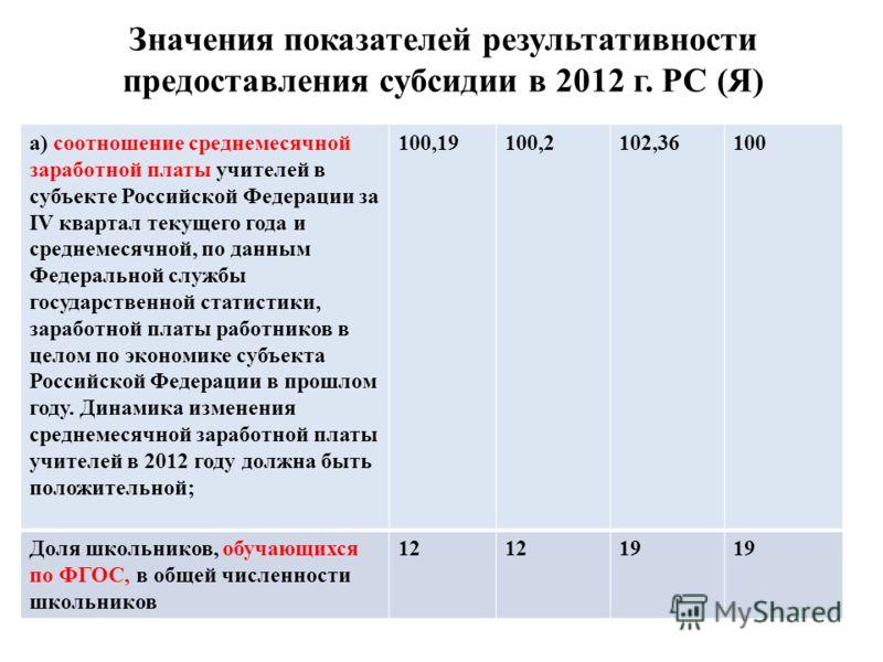 Значения показателей результативности предоставления субсидии в 2012 г. РС (Я) а) соотношение среднемесячной заработной платы учителей в субъекте Российской Федерации за IV квартал текущего года и среднемесячной, по данным Федеральной службы государс