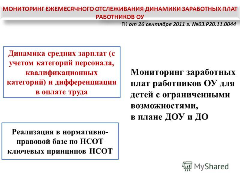 ГК от 26 сентября 2011 г. 03.P20.11.0044 Динамика средних зарплат (с учетом категорий персонала, квалификационных категорий) и дифференциация в оплате труда Реализация в нормативно- правовой базе по НСОТ ключевых принципов НСОТ Мониторинг заработных