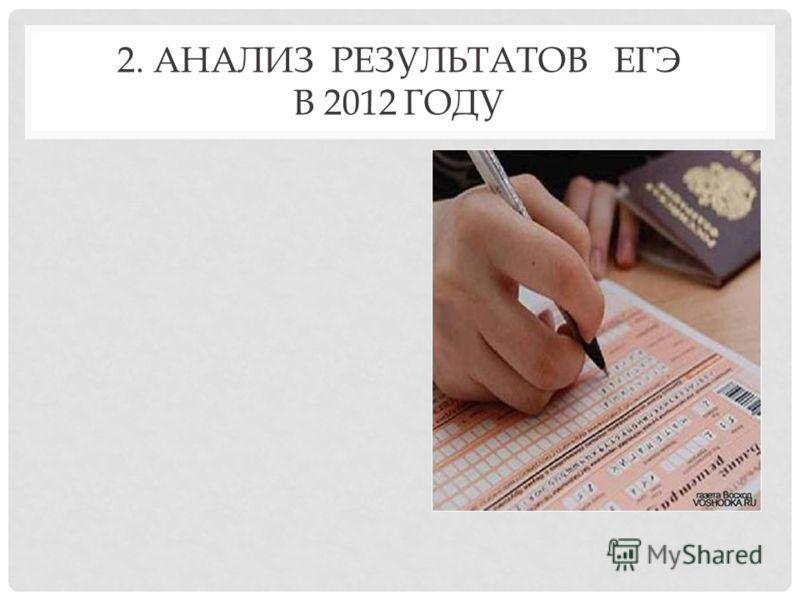 2. АНАЛИЗ РЕЗУЛЬТАТОВ ЕГЭ В 2012 ГОДУ