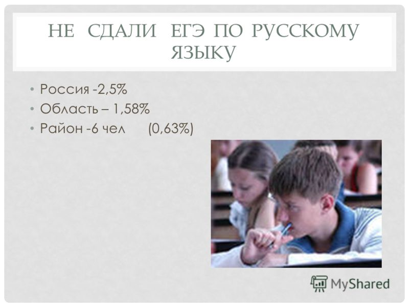 НЕ СДАЛИ ЕГЭ ПО РУССКОМУ ЯЗЫКУ Россия -2,5% Область – 1,58% Район -6 чел(0,63%)