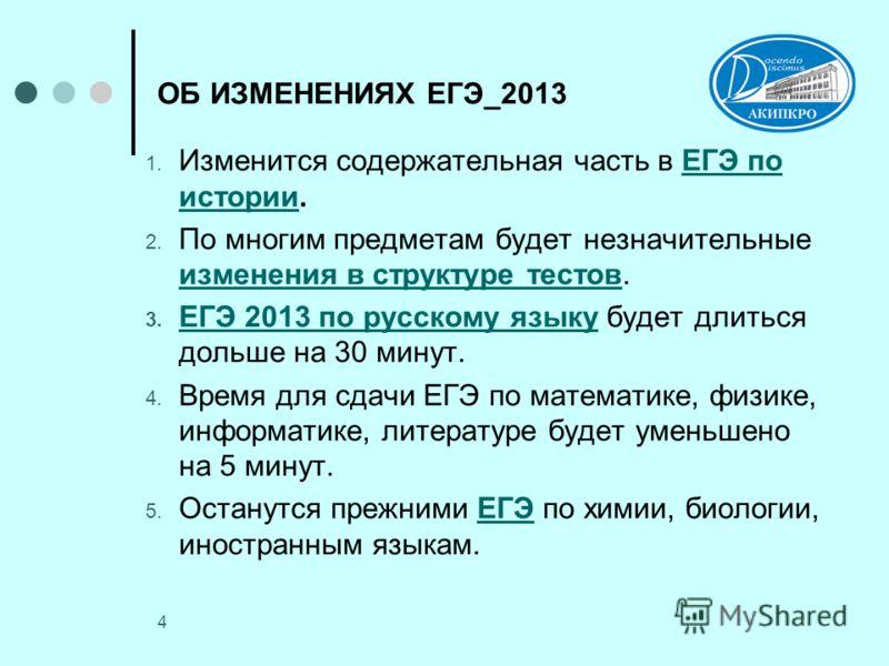 4 ОБ ИЗМЕНЕНИЯХ ЕГЭ_2013 1. Изменится содержательная часть в ЕГЭ по истории.ЕГЭ по истории 2. По многим предметам будет незначительные изменения в структуре тестов. изменения в структуре тестов 3. ЕГЭ 2013 по русскому языку будет длиться дольше на 30