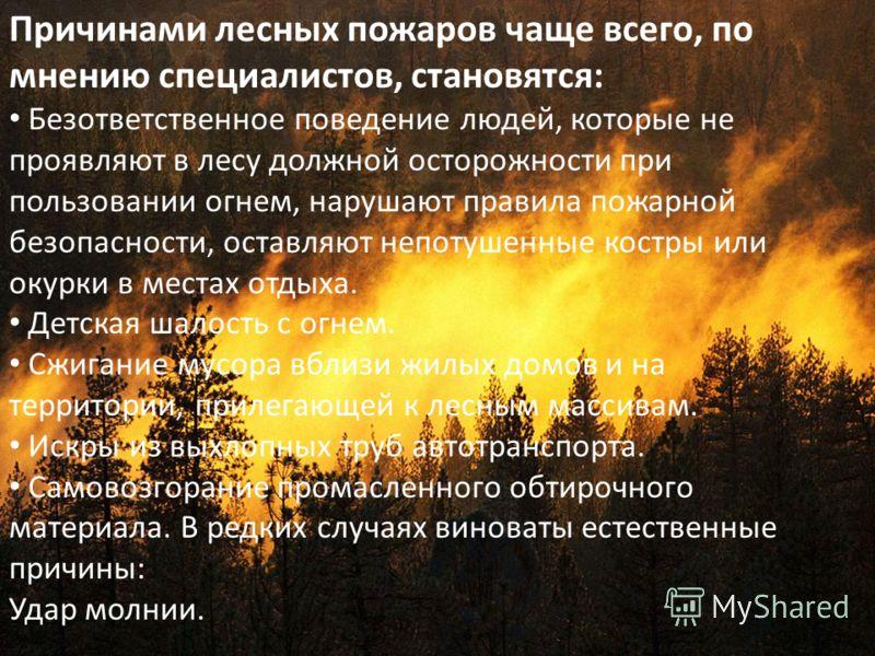 Причинами лесных пожаров чаще всего, по мнению специалистов, становятся: Безответственное поведение людей, которые не проявляют в лесу должной осторожности при пользовании огнем, нарушают правила пожарной безопасности, оставляют непотушенные костры и