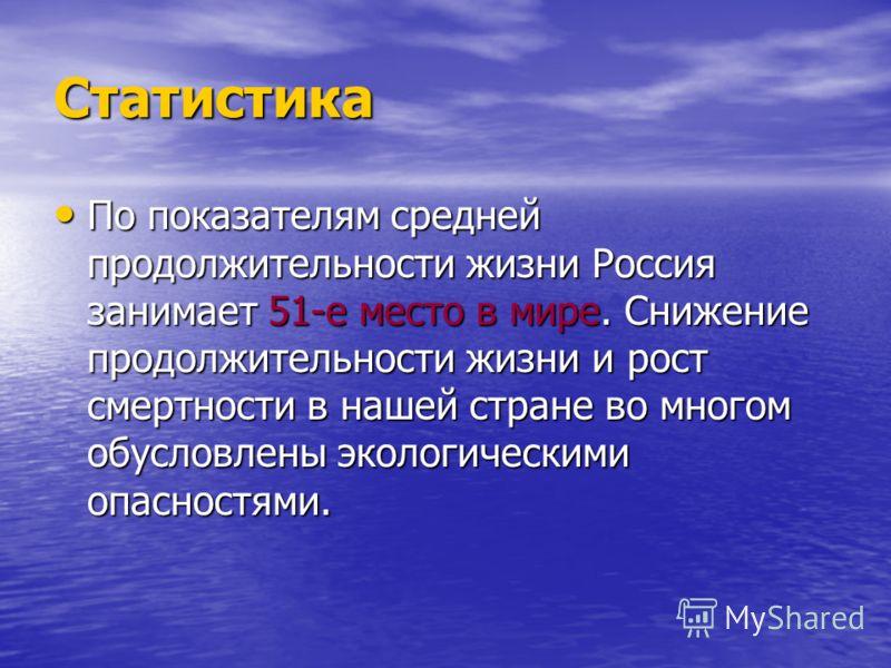 Статистика По показателям средней продолжительности жизни Россия занимает 51-е место в мире. Снижение продолжительности жизни и рост смертности в нашей стране во многом обусловлены экологическими опасностями. По показателям средней продолжительности