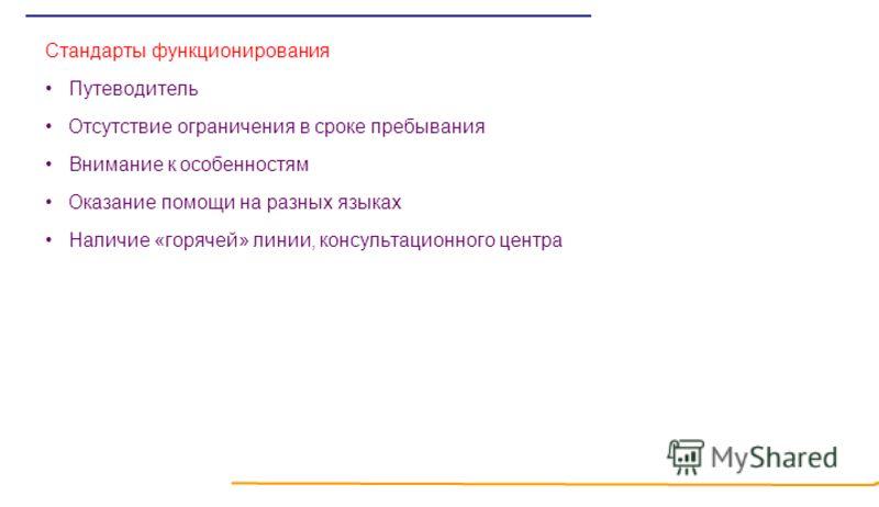 Стандарты функционирования Путеводитель Отсутствие ограничения в сроке пребывания Внимание к особенностям Оказание помощи на разных языках Наличие «горячей» линии, консультационного центра